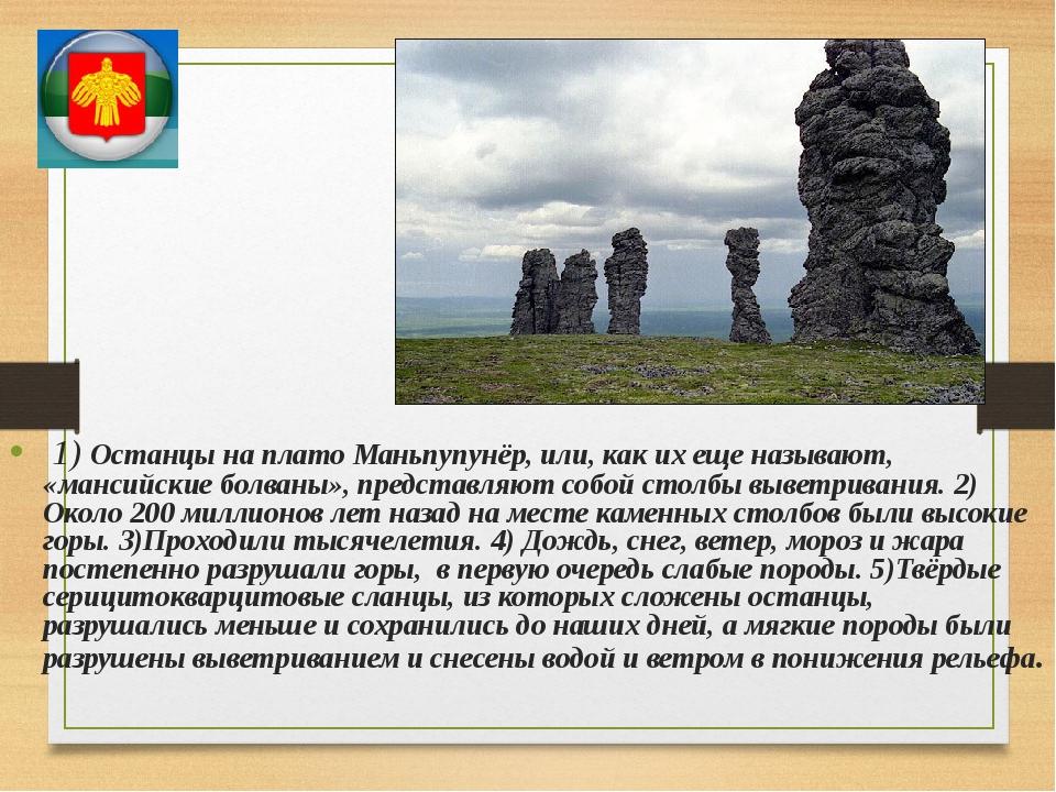 1) Останцы на плато Маньпупунёр, или, как их еще называют, «мансийские болва...
