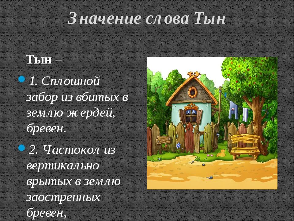 Значение слова Тын Тын – 1. Сплошной забор из вбитых в землю жердей, бревен....