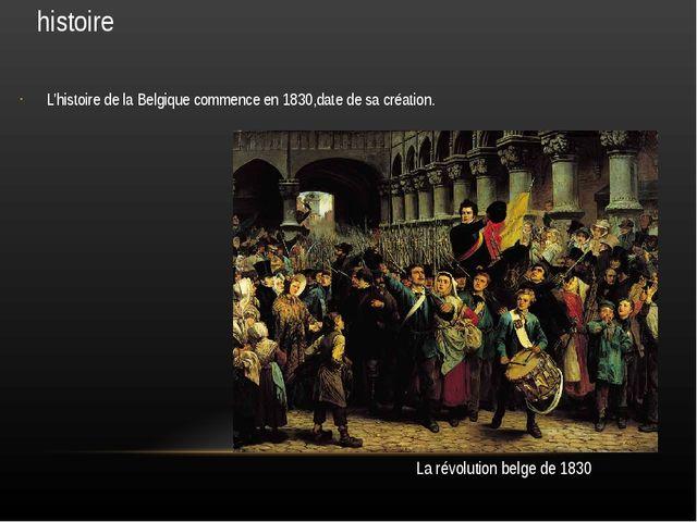 histoire L'histoire de la Belgique commence en 1830,date de sa création. La r...