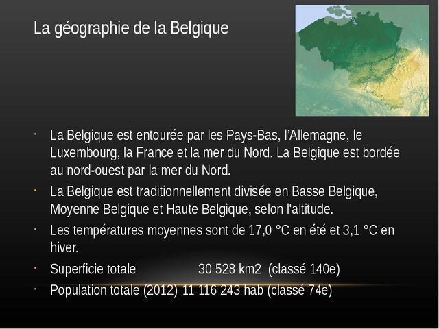 La géographie de la Belgique La Belgique est entourée par les Pays-Bas, l'All...