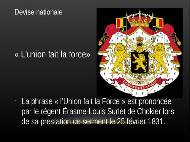 Devise nationale « L'union fait la force» La phrase « l'Union fait la Force »...