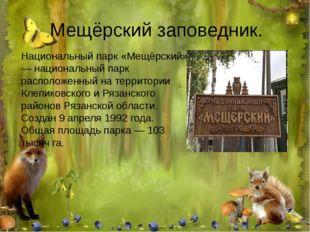Мещёрский заповедник. Национальный парк «Мещёрский» — национальный парк распо