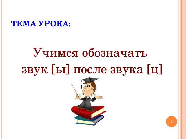 ТЕМА УРОКА: Учимся обозначать звук [ы] после звука [ц] *