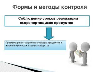 Соблюдение сроков реализации скоропортящихся продуктов Формы и методы контро