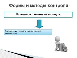 Количество пищевых отходов Формы и методы контроля Определение процента отход