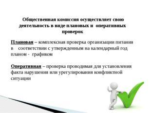 Общественная комиссия осуществляет свою деятельность в виде плановых и опера