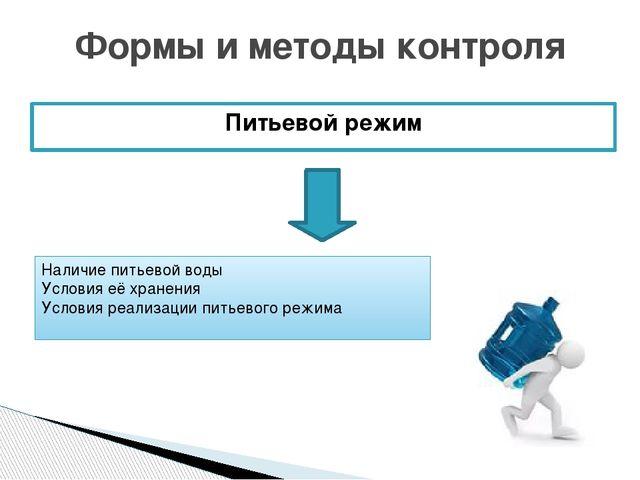 Питьевой режим Формы и методы контроля Наличие питьевой воды Условия её хране...