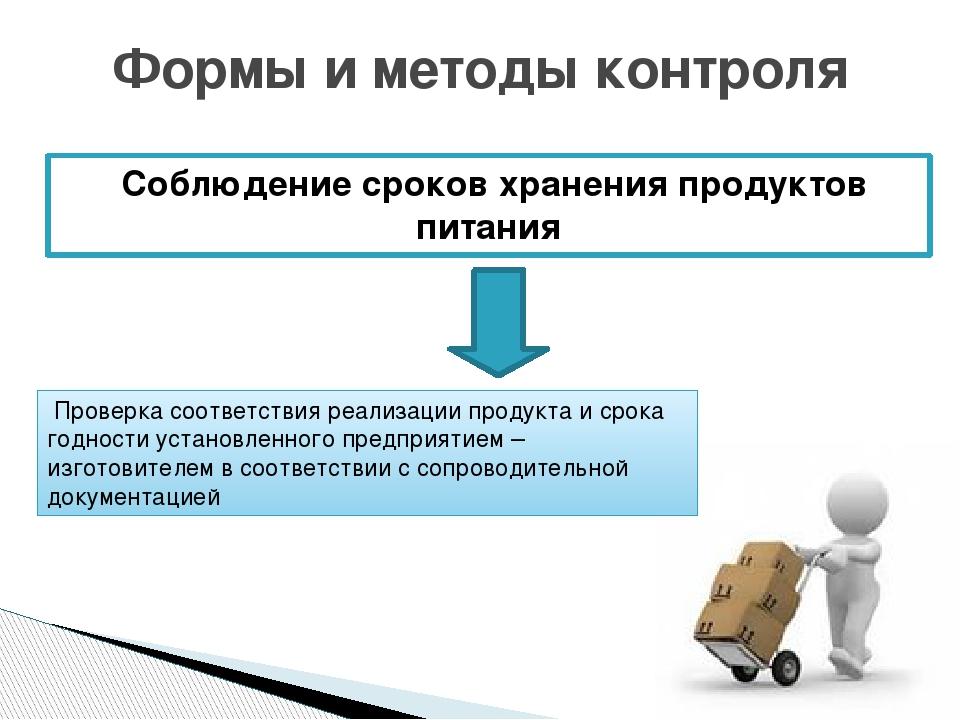 Соблюдение сроков хранения продуктов питания Формы и методы контроля Проверк...