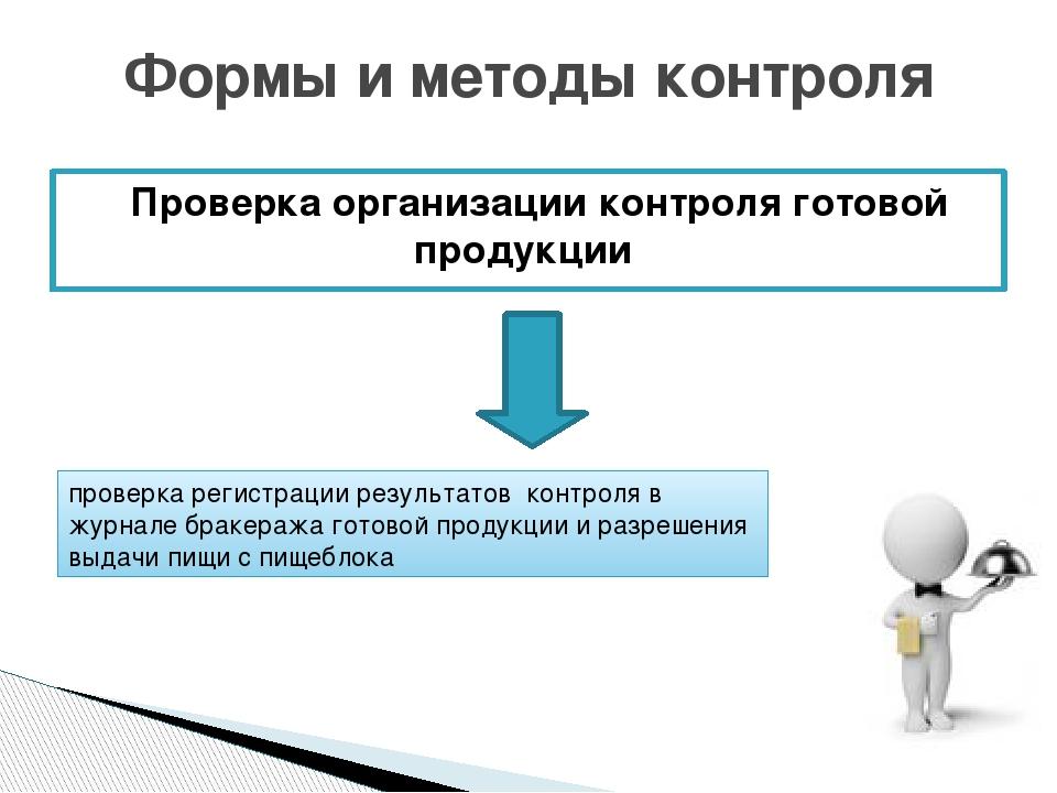 Проверка организации контроля готовой продукции Формы и методы контроля пров...