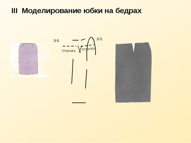 III Моделирование юбки на бедрах Отрезать Отрезать 3-5 3-5