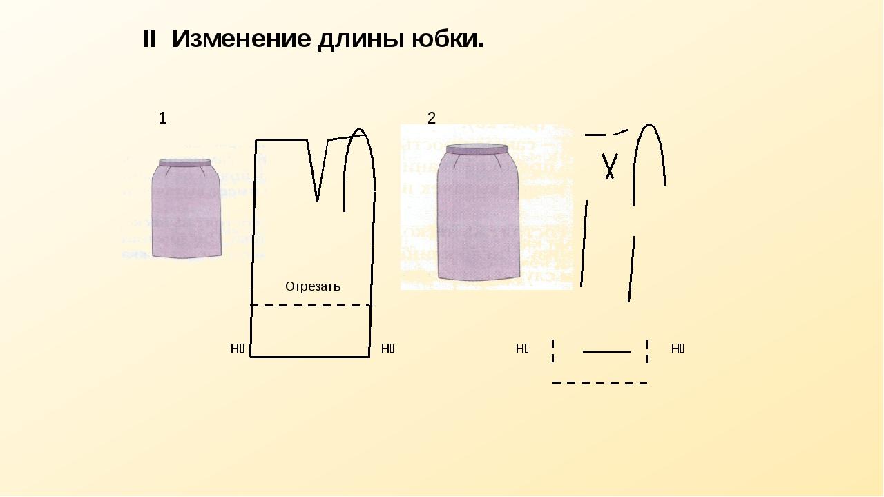 II Изменение длины юбки. Отрезать Н₂ 1 Н₁ Н₂ 2 Н₁