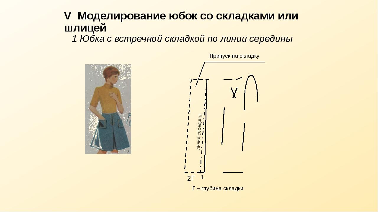 V Моделирование юбок со складками или шлицей 1 Юбка с встречной складкой по л...