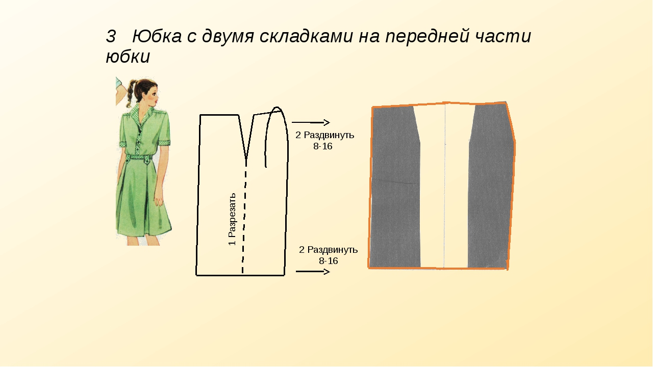 3 Юбка с двумя складками на передней части юбки 8-16 8-16 1 Разрезать 2 Раздв...