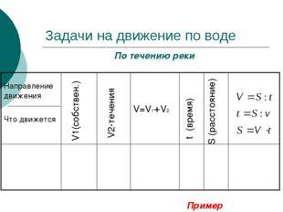 Задачи на движение по воде По течению реки V1(собствен.) V2-течения t (время)
