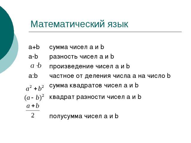 Математический язык сумма чисел а и b разность чисел а и b произведение чисел...