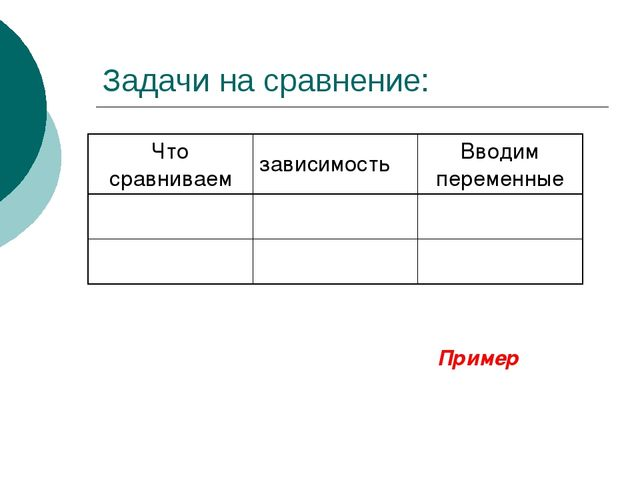 Задачи на сравнение: Пример