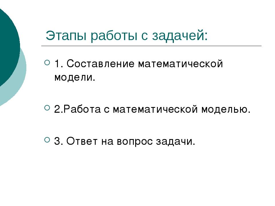 Этапы работы с задачей: 1. Составление математической модели. 2.Работа с мат...