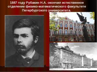 1887 году Рубакин Н.А. окончил естественное отделение физико-математического
