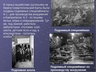 В горных выработках (штольнях) на берегу Севастопольской бухты были созданы п