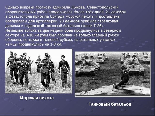 Однако вопреки прогнозу адмирала Жукова, Севастопольский оборонительный район...