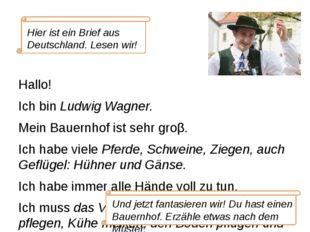 Hallo! Ich bin Ludwig Wagner. Mein Bauernhof ist sehr groβ. Ich habe viele Pf