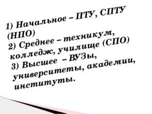 1) Начальное – ПТУ, СПТУ (НПО) 2) Среднее – техникум, колледж, училище (СПО)