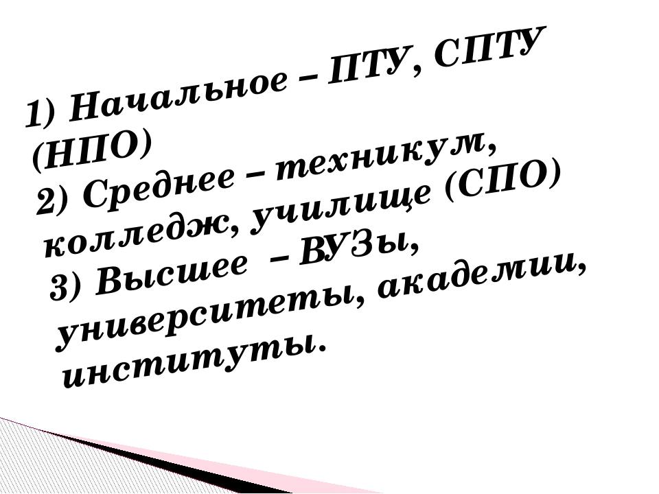 1) Начальное – ПТУ, СПТУ (НПО) 2) Среднее – техникум, колледж, училище (СПО)...
