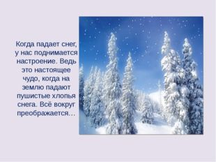 Когда падает снег, у нас поднимается настроение. Ведь это настоящее чудо, ко