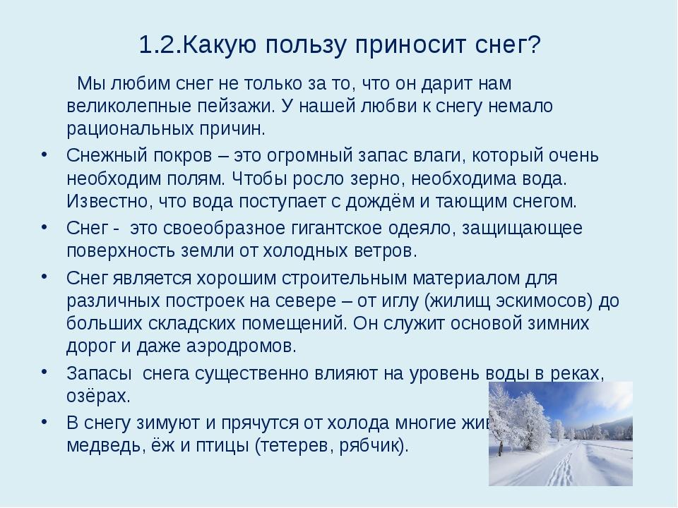 1.2.Какую пользу приносит снег? Мы любим снег не только за то, что он дарит н...