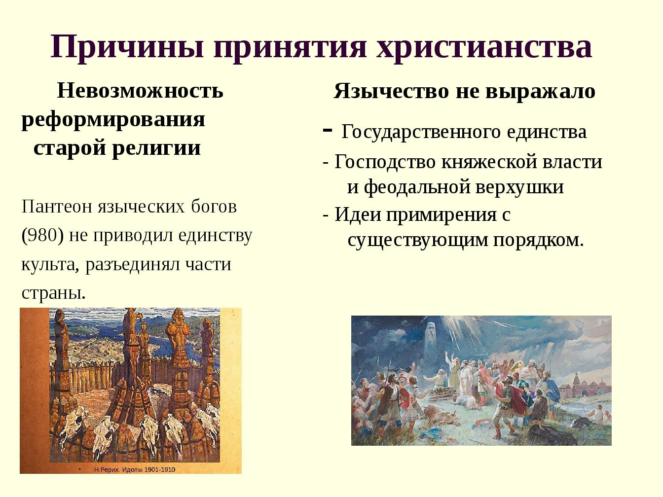 Причины принятия христианства Невозможность реформирования старой религии Пан...