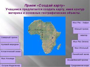 Прием «Создай карту» Учащимся предлагается создать карту, имея контур материк