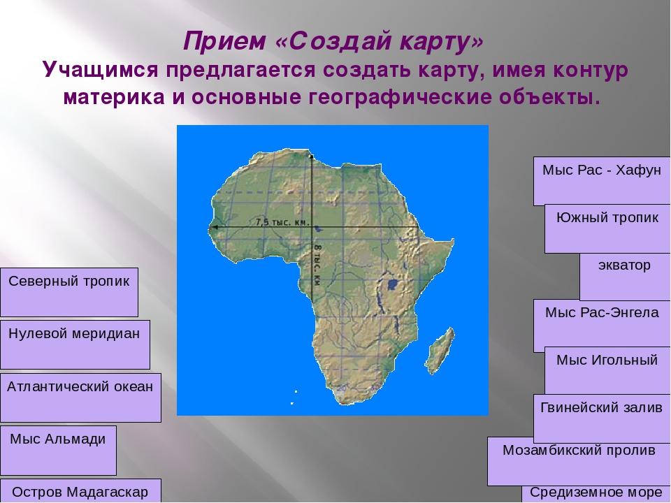 Прием «Создай карту» Учащимся предлагается создать карту, имея контур материк...