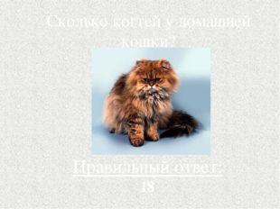 Сколько когтей у домашней кошки? Правильный ответ: 18