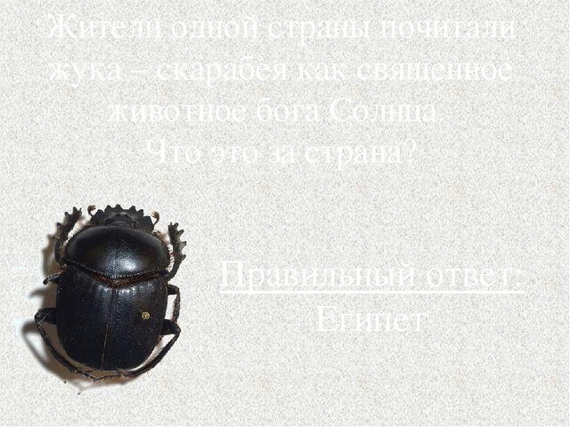 Жители одной страны почитали жука – скарабея как священное животное бога Солн...