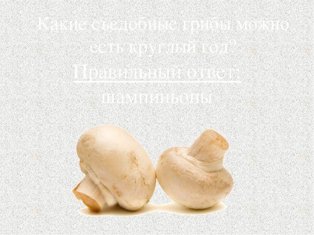 Какие съедобные грибы можно есть круглый год? Правильный ответ: шампиньоны
