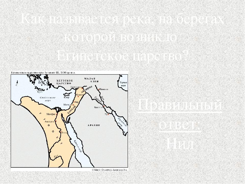 Как называется река, на берегах которой возникло Египетское царство? Правильн...