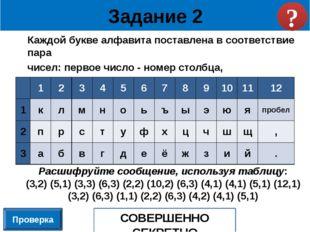 Каждой букве алфавита поставлена в соответствие пара чисел: первое число - но
