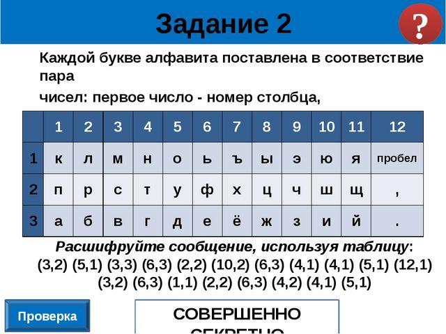 Каждой букве алфавита поставлена в соответствие пара чисел: первое число - но...