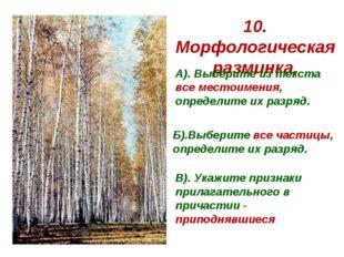 10. Морфологическая разминка. А). Выберите из текста все местоимения, определ