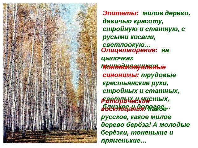Эпитеты: милое дерево, девичью красоту, стройную и статную, с русыми косами,...