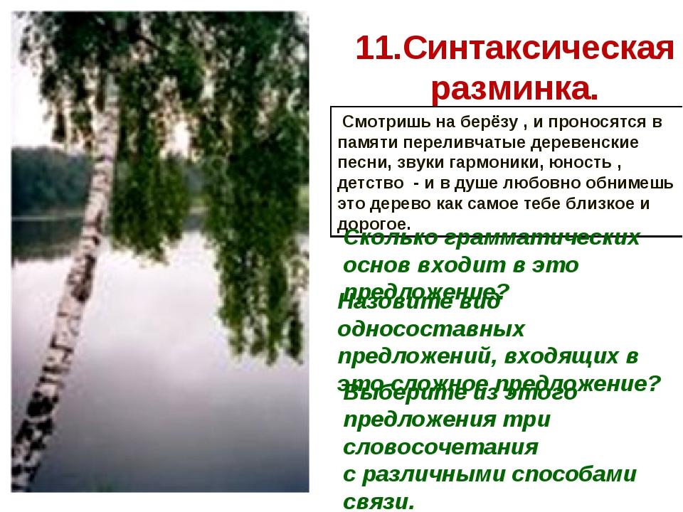 11.Синтаксическая разминка. Смотришь на берёзу , и проносятся в памяти перели...