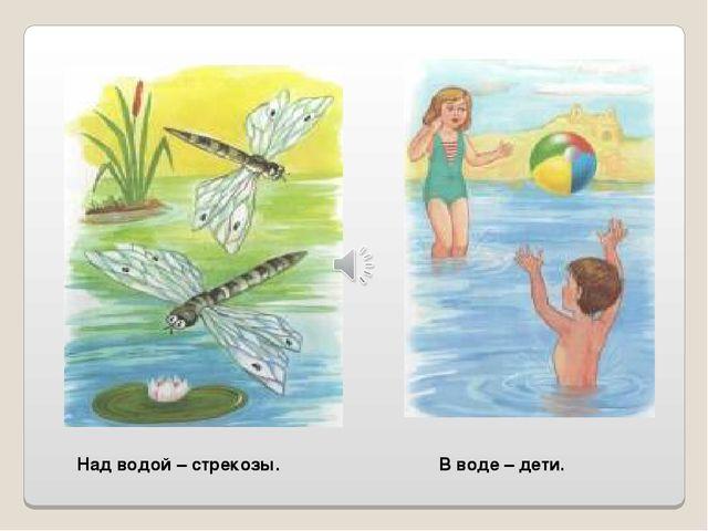 Над водой – стрекозы. В воде – дети.