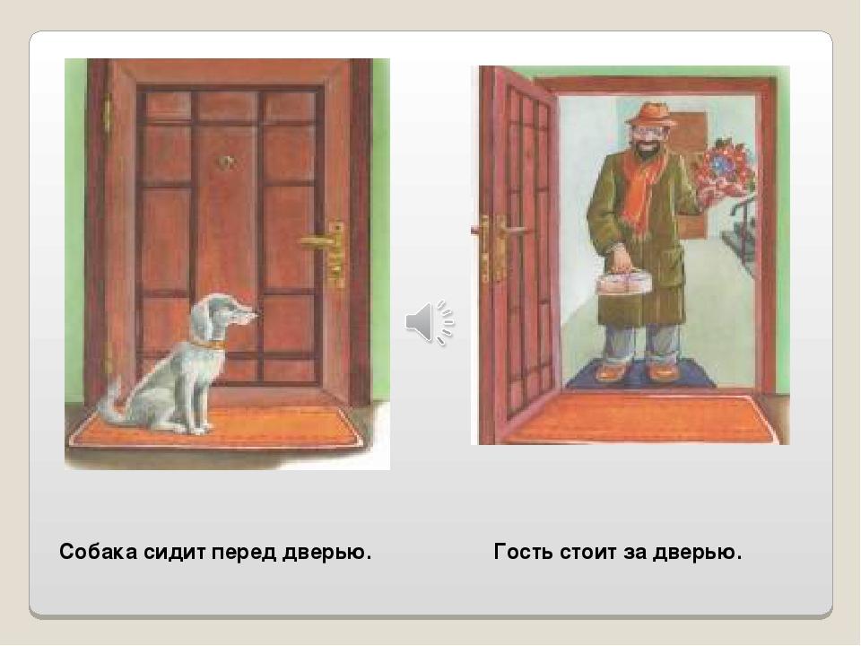 Собака сидит перед дверью. Гость стоит за дверью.