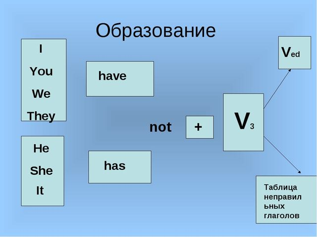 Образование I You We They He She It have has + V3 Ved Таблица неправильных гл...