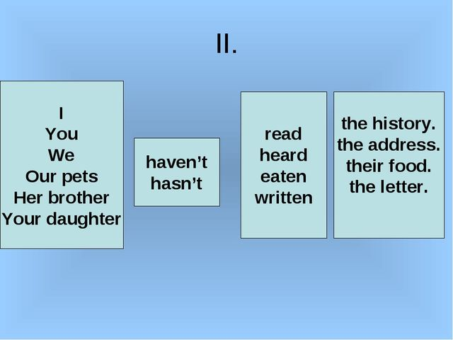 II. I You We Our pets Her brother Your daughter haven't hasn't read heard eat...