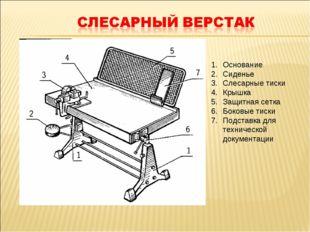 Основание Сиденье Слесарные тиски Крышка Защитная сетка Боковые тиски Подстав
