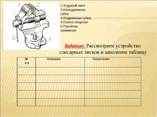 Задание: Рассмотрите устройство слесарных тисков и заполните таблицу 1.Ходово