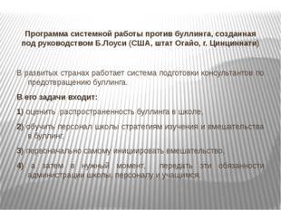 Программа системной работы против буллинга, созданная под руководством Б.Лоу