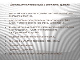 Шаги психологических служб в отношении буллинга подготовке консультантов по д