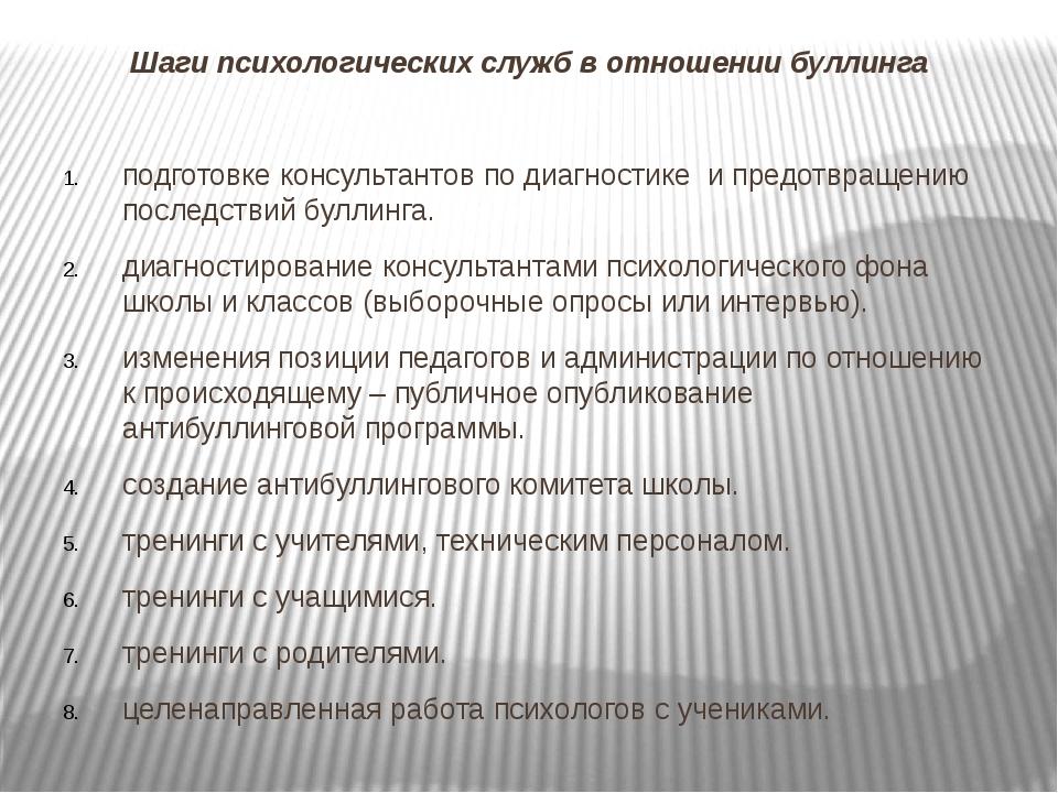 Шаги психологических служб в отношении буллинга подготовке консультантов по д...